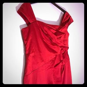 Like New! Adrianna Papell Red Satin Dress Size 12